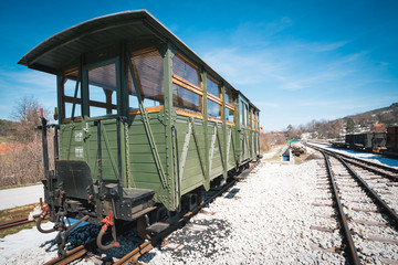 Vintage train with wooden cars