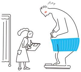 体重計にのる男性