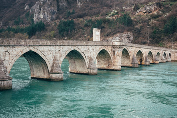 Old bridge in Visegrad on Drina river