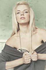 portrait of a beautiful blonde closeup  vintage