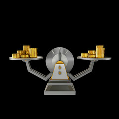Business concept. Scales isolated on black background.