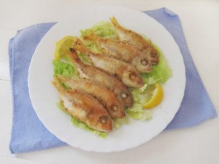 Fried fish. Red Mullet.