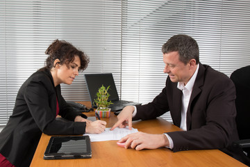 A businesswoman signing a contract - business concept