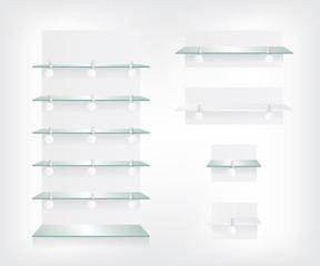 Empty shop glass shelves and wobbler