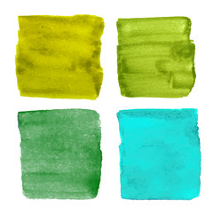 Green vector watercolor square shapes