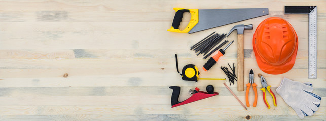 Carpentry tools on a wooden table