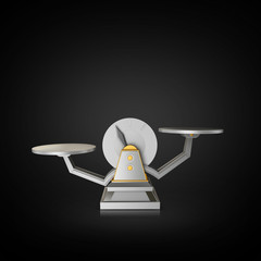 Business concept. Scales on black background.