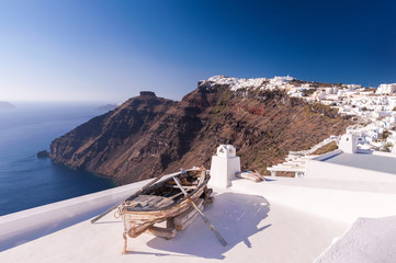 Rowing boat on a roof, Santorini, Greece