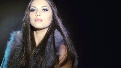 Woman in Luxury Silver Fox Fur Coat