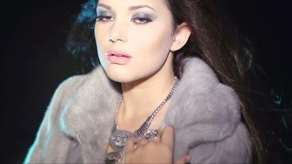 Model Girl in Blue Mink Fur Coat