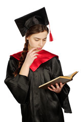 Strict graduate girl student in mantle with books