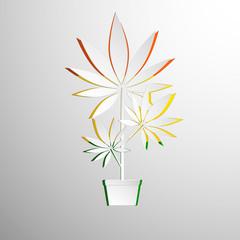 symbol of marijuana cut white paper