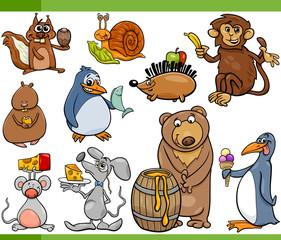 animals and food cartoon set