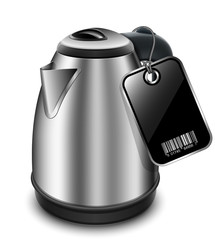 Electric kettle with blank price tag. Vector illustration