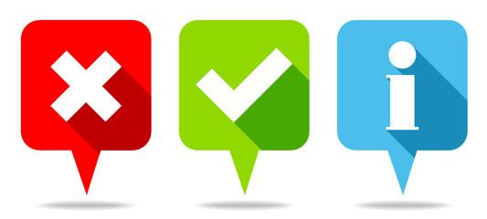 Speech Bubbles Check Marks & Information