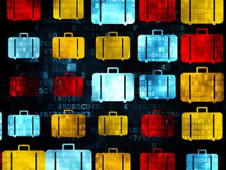 Travel concept: Bag icons on Digital background