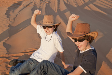 The twins are in a desert