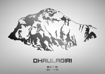 Outline vector illustration of steel Dhaulagiri