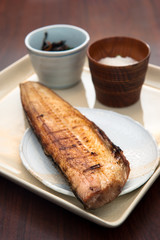 Grilled Salmon Steak, Japanese food lunch set