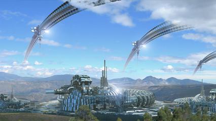 Futuristic architecture composite in scenic landscape