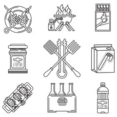 Black line vector icons for picnic