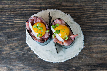 Raw Beef Sushi with eggs