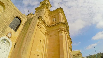 Detail of one of the towers of the Mgarr church in Malta.