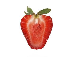 Strawberry half isolated on white background