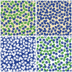 Set of seamless patterns of blueberry