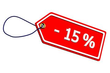 Discount fifteen percentages tag
