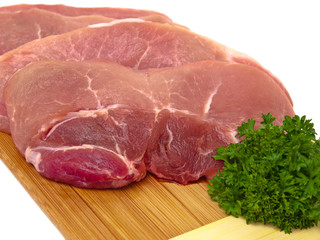 Fresh porc cuts close-up view