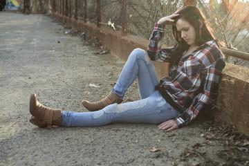 woman sit like depress