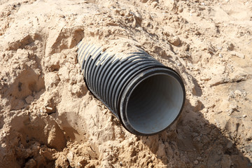 Road construction sewer pipe