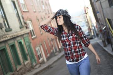 Woman walk hat