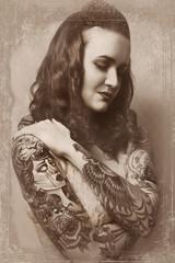 Beautiful sexy glamorous girl with tattoos.