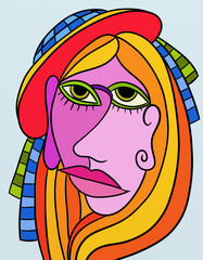abstract design with face of woman