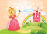 Fototapety Fairy Tale castle and Beautiful princess