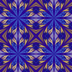 Symmetrical pattern in stained-glass window style. Blue and beig