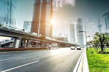 urban road and modern city skyline