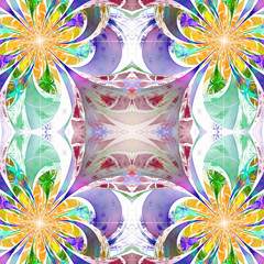 Pattern from fractal Flowers. Purple, blue and yellow palette. F