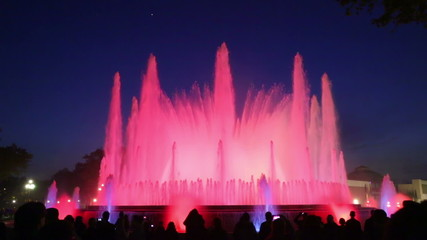 colorful vocal Montjuic fountain in Barcelona