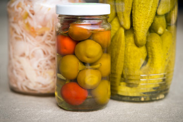Organic pickled vegetables. Marinated food. Clean eating concept