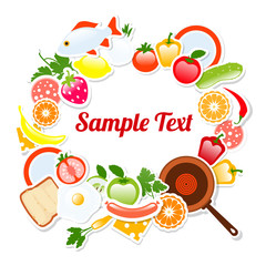 Food Frame Composition Text  Template, Vector Illustration