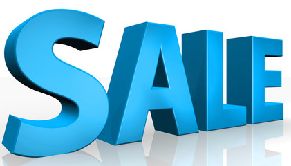 3D sale text on white background