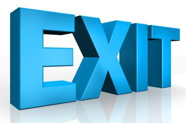 3D exit text on white background