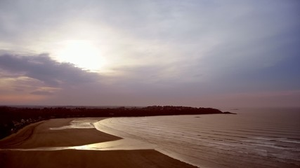 Time-lapse scenery of a bay in the evening