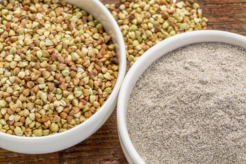 buckwheat grain and flour