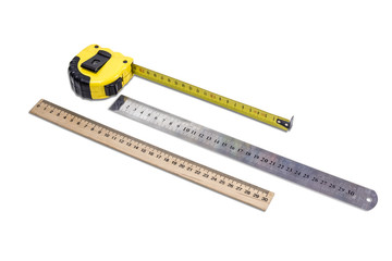 Tape measure and two ruler
