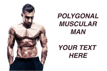 Polygonal muscular man over white background with copyspace