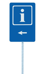 Info sign blue, white i letter icon left hand arrow, isolated